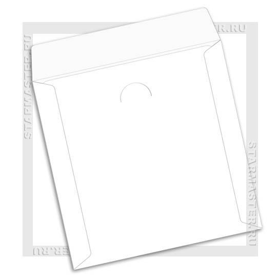 Конверт бумажный для CD/DVD диска с окном без клея, белый